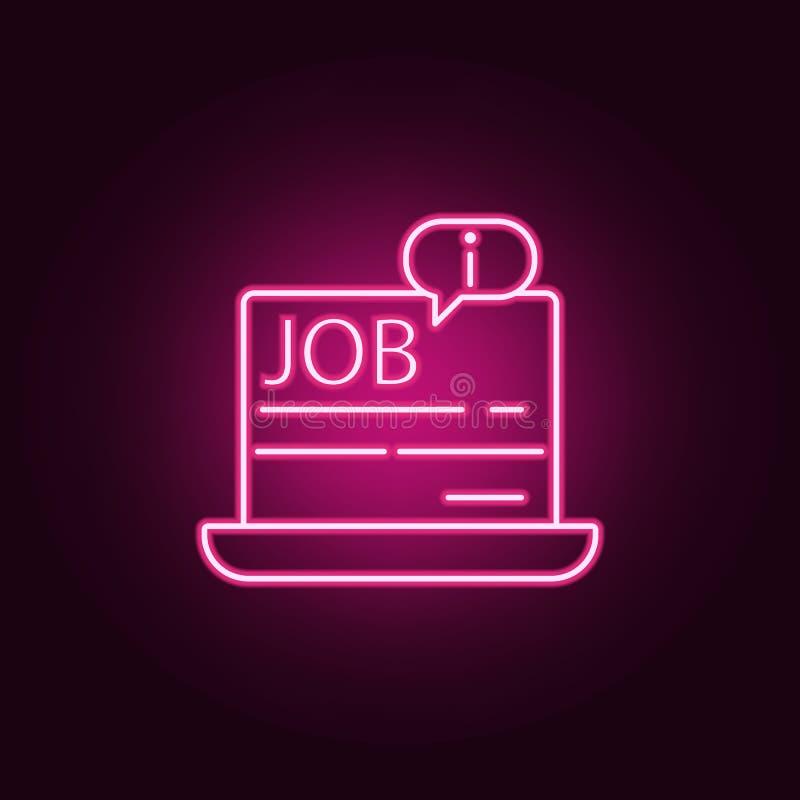 информация о работе в значке ноутбука Элементы интервью в неоновых значках стиля Простой значок для вебсайтов, веб-дизайн, бесплатная иллюстрация