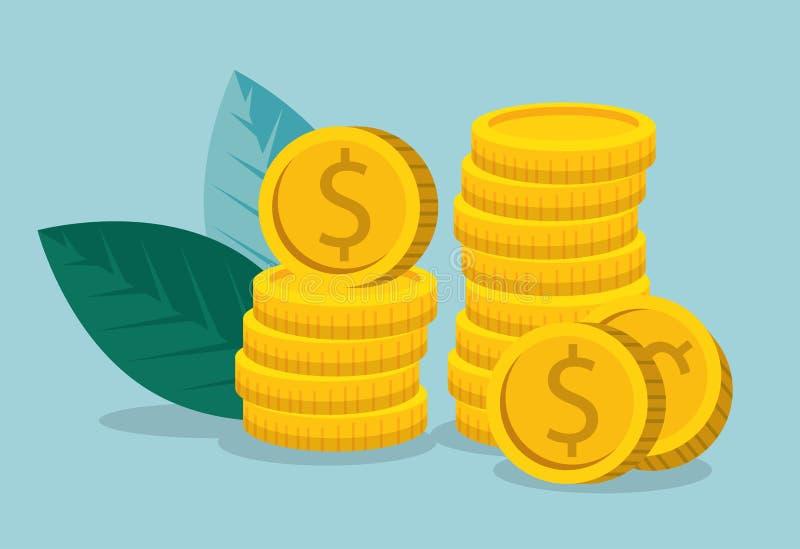 Информация о состоянии рынка дела с монетками и листьями иллюстрация штока