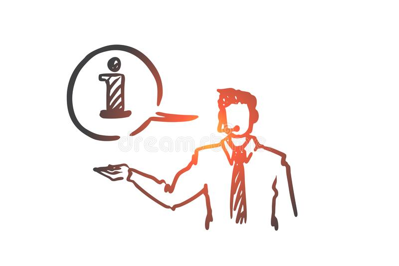 Информация, помощь, поддержка, контакт, концепция оператора Вектор нарисованный рукой изолированный бесплатная иллюстрация