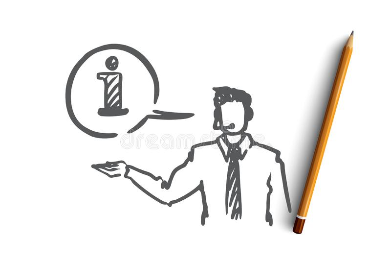 Информация, помощь, поддержка, контакт, концепция оператора Вектор нарисованный рукой изолированный иллюстрация вектора