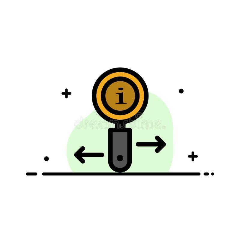 Информация, информация, сигнал, линия дела поиска плоская заполнила шаблон знамени вектора значка иллюстрация вектора