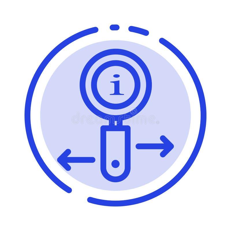 Информация, информация, сигнал, линия значок голубой пунктирной линии поиска иллюстрация вектора