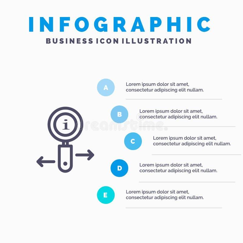 Информация, информация, сигнал, линия значок поиска с предпосылкой infographics представления 5 шагов бесплатная иллюстрация