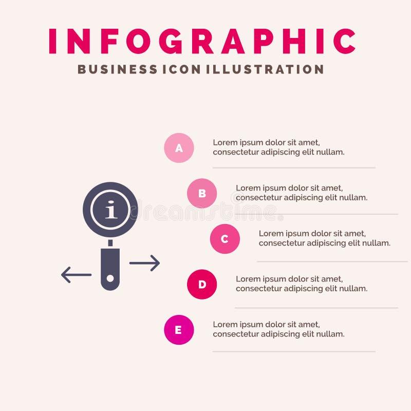 Информация, информация, сигнал, предпосылка представления шагов Infographics 5 значка поиска твердая бесплатная иллюстрация