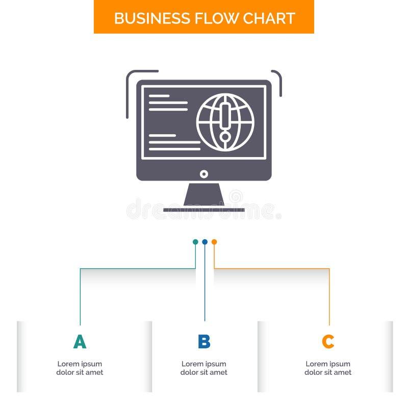 информация, содержание, развитие, вебсайт, дизайн графика течения дела сети с 3 шагами Значок глифа для предпосылки представления иллюстрация вектора