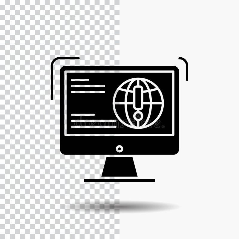 информация, содержание, развитие, вебсайт, значок глифа сети на прозрачной предпосылке r иллюстрация вектора