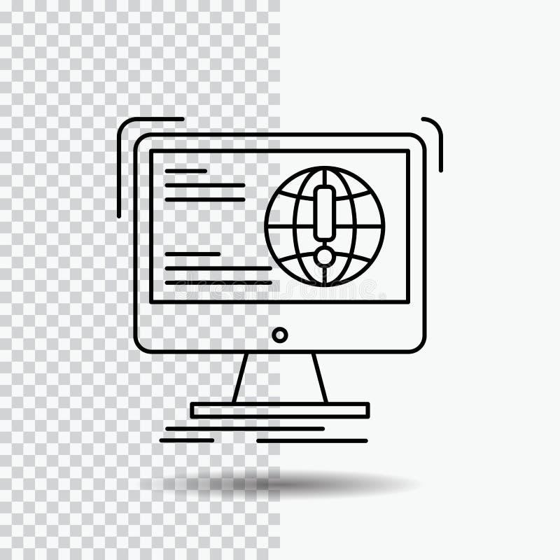 информация, содержание, развитие, вебсайт, линия значок сети на прозрачной предпосылке r иллюстрация штока