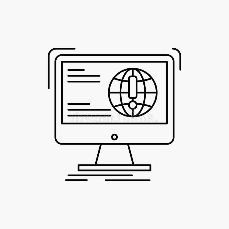 информация, содержание, развитие, вебсайт, линия значок сети r иллюстрация вектора