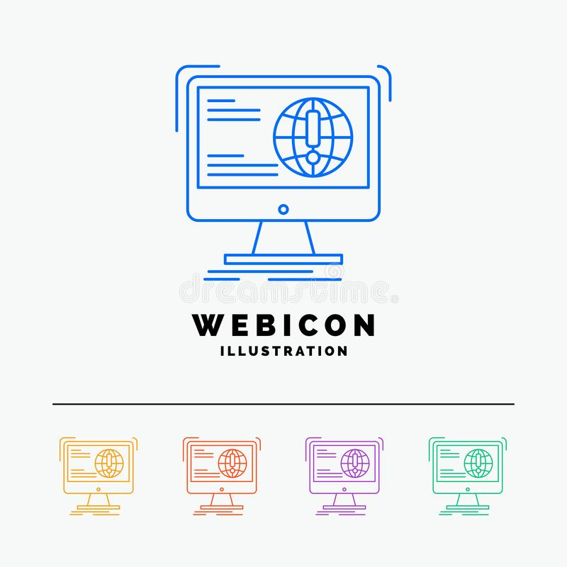информация, содержание, развитие, вебсайт, шаблон значка сети цветного барьера сети 5 изолированный на белизне r бесплатная иллюстрация