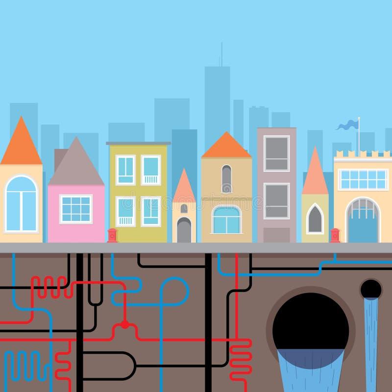 Инфраструктура города иллюстрация штока