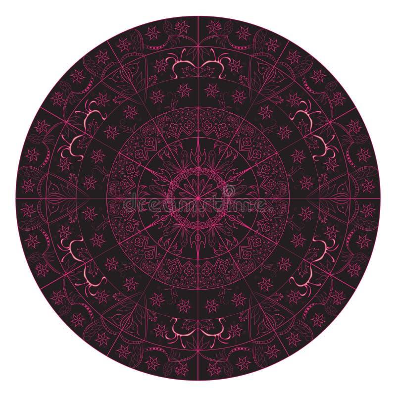 Индеец искусства мандалы в черной розовой затейливой детали иллюстрация штока