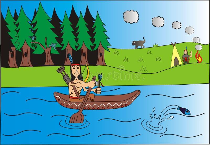 Индеец и его развевать жены бесплатная иллюстрация