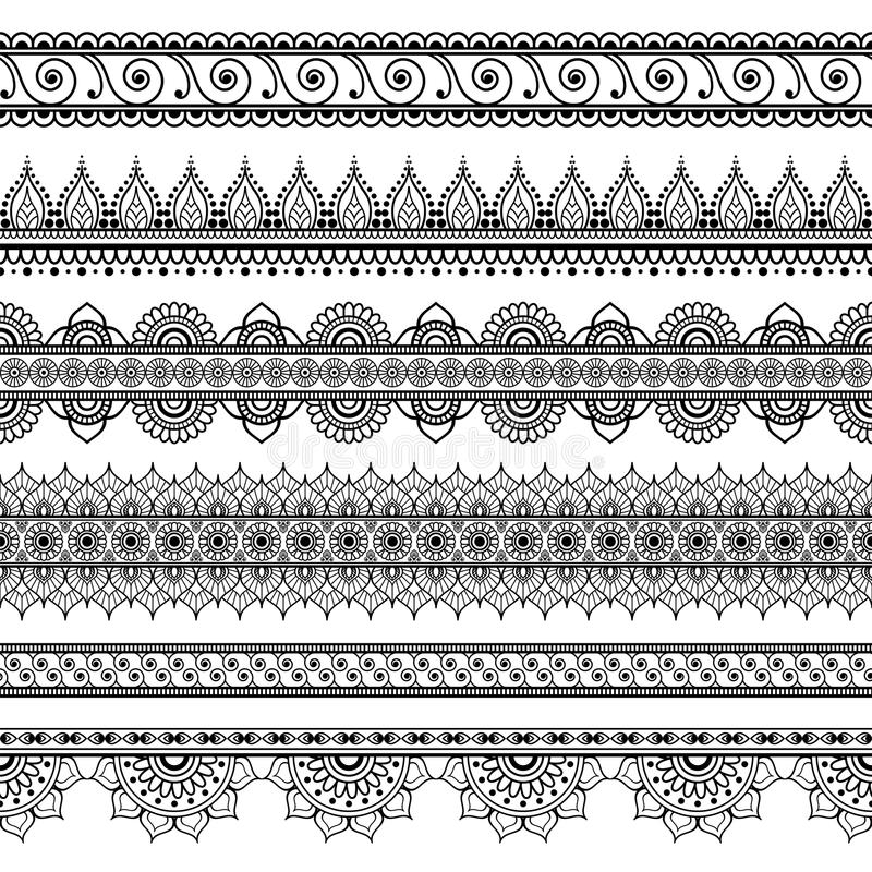 Индеец, комплект хны Mehndi 6 линий картины элементов шнурка для татуировки на белой предпосылке иллюстрация штока