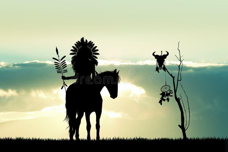 Индеец на лошади на заходе солнца стоковые фотографии rf