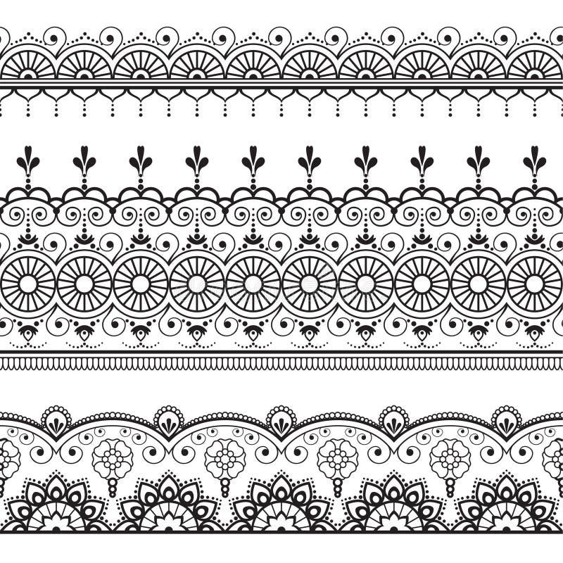 Индеец, хна 3 Mehndi выравнивает картину элементов шнурка для татуировки на белой предпосылке иллюстрация вектора