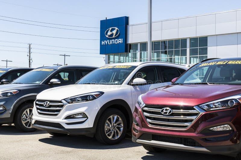 Индианаполис - около апрель 2017: Дилерские полномочия Hyundai Мотора Компании Hyundai южнокорейский автомобильный изготовитель I стоковые фото