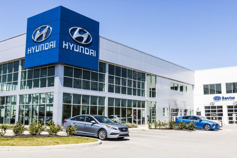 Индианаполис - около апрель 2017: Дилерские полномочия Hyundai Мотора Компании Hyundai южнокорейский автомобильный изготовитель v стоковые фото