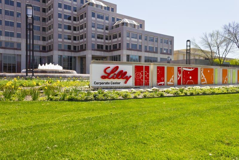 Индианаполис - около апрель 2016: Штабы мира Eli Lilly и компании VI стоковые изображения rf