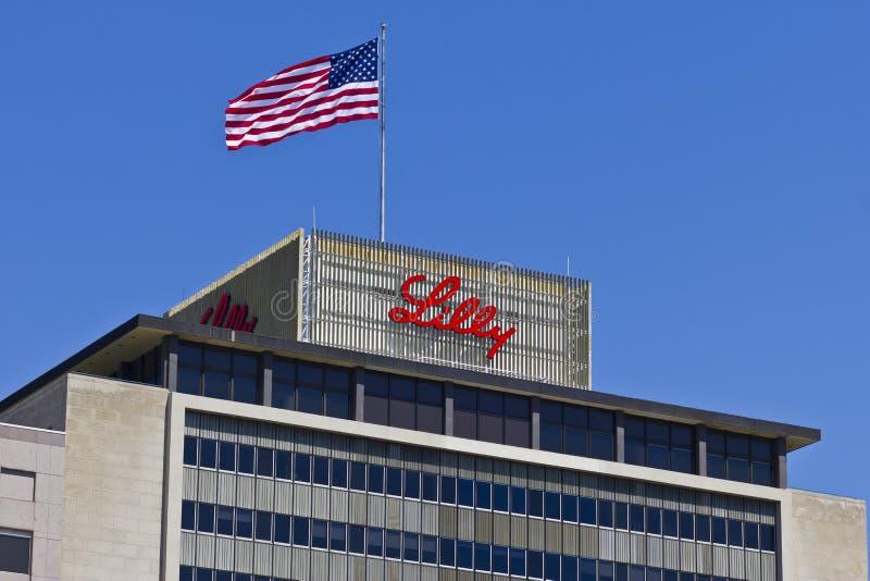 Индианаполис - около апрель 2016: Штабы мира Eli Lilly и компании VII стоковое изображение