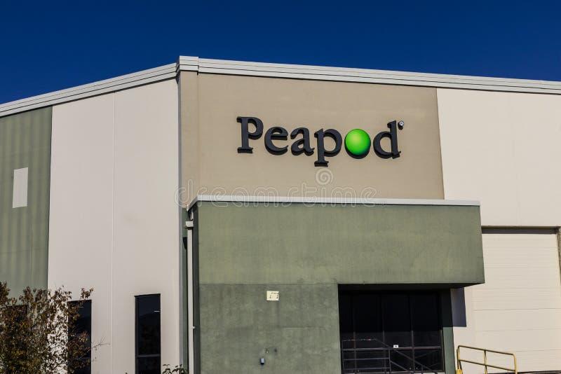 Индианаполис - около ноябрь 2016: Обслуживание поставки бакалеи Peapod и склад II онлайн бакалеи приказывая стоковая фотография