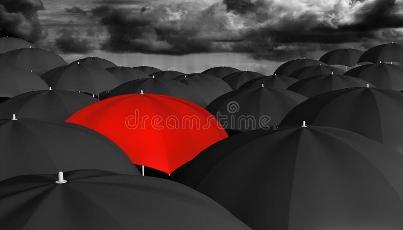 Индивидуальность и думая различная концепция красного зонтика в толпе черноты одни иллюстрация вектора