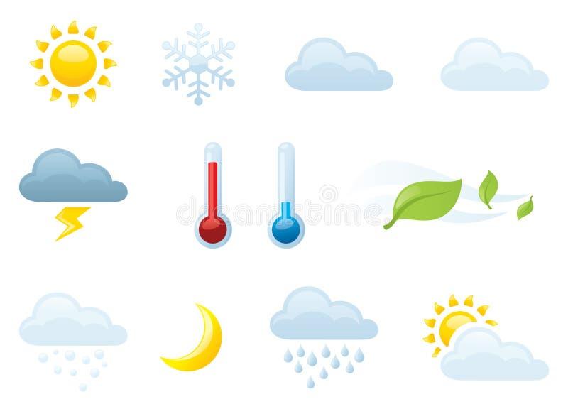 Индивидуально собранные значки погоды иллюстрация вектора
