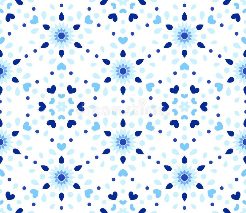 Индиго ставит точки картина цветка сердец голубая иллюстрация вектора