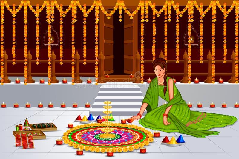 Индийская дама с украшенным вися светом для счастливого Diwali иллюстрация вектора