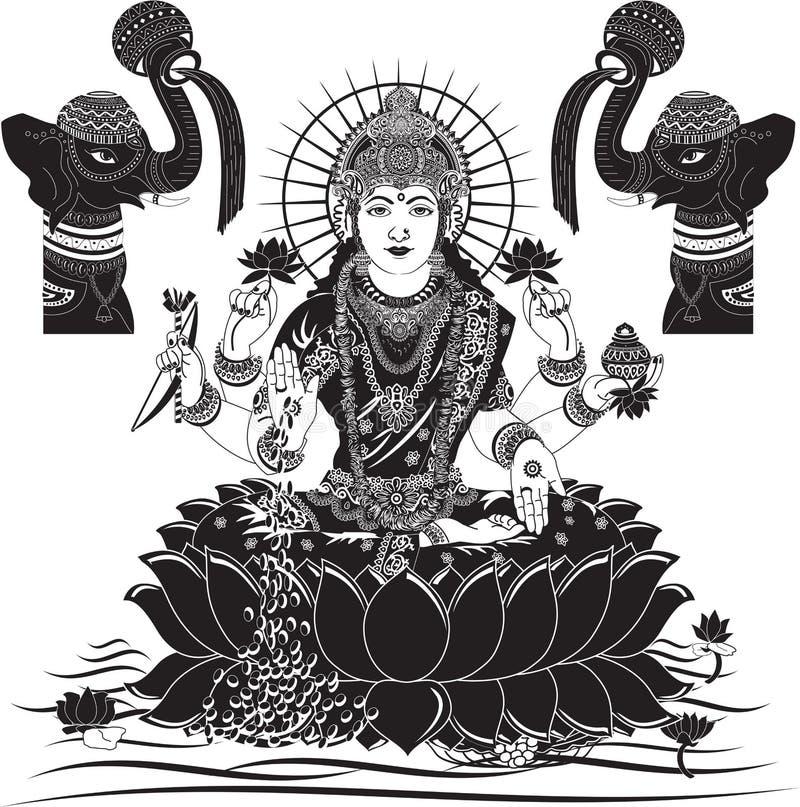 Индийская иллюстрация вектора Lakshmi богини для diwali бесплатная иллюстрация