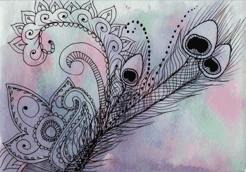 Индийская картина - перо и мандалы павлина покрасили вкладыш для иллюстрация вектора
