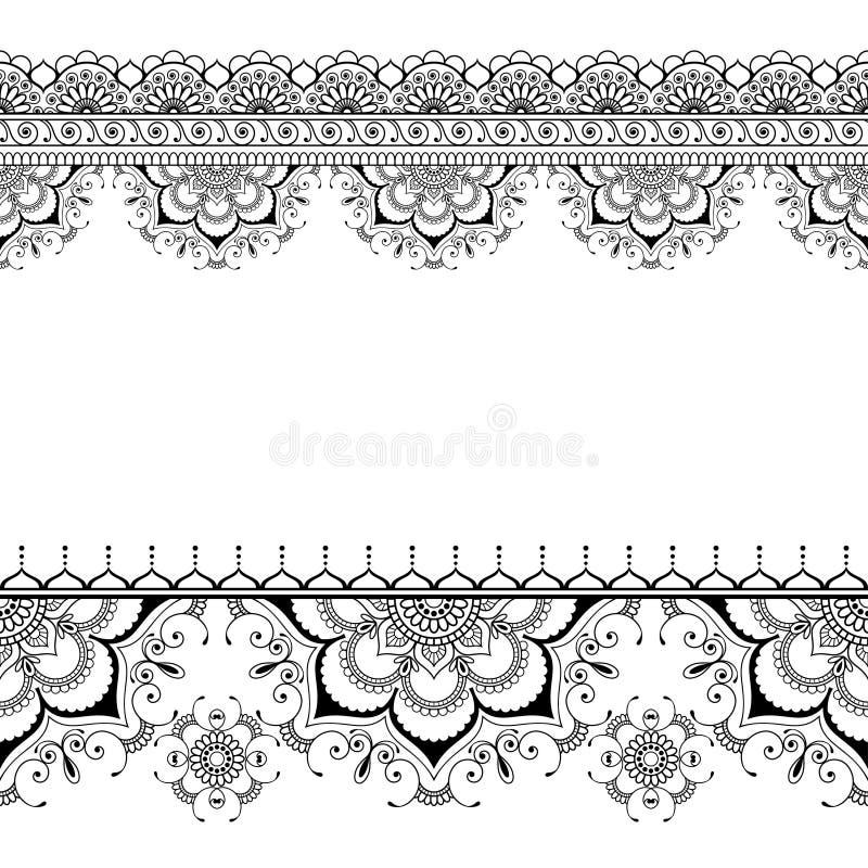 Индийская карточка элементов цветочного узора границы хны mehndi для татуировки на белой предпосылке иллюстрация вектора