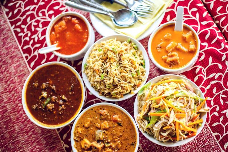Индийская национальная еда Взгляд сверху стоковая фотография