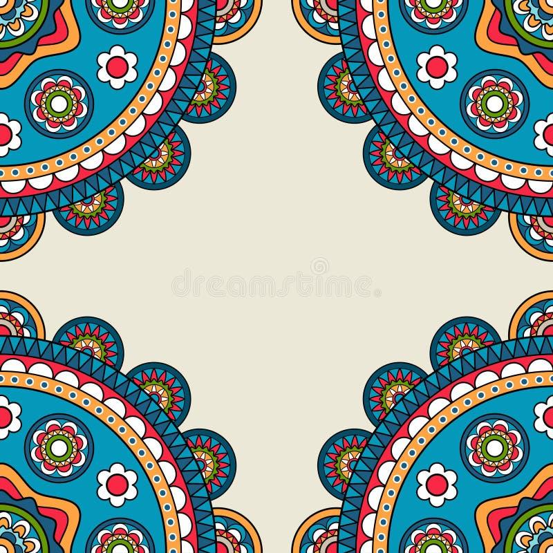 Индийская рамка hippie doodle rossetes иллюстрация вектора