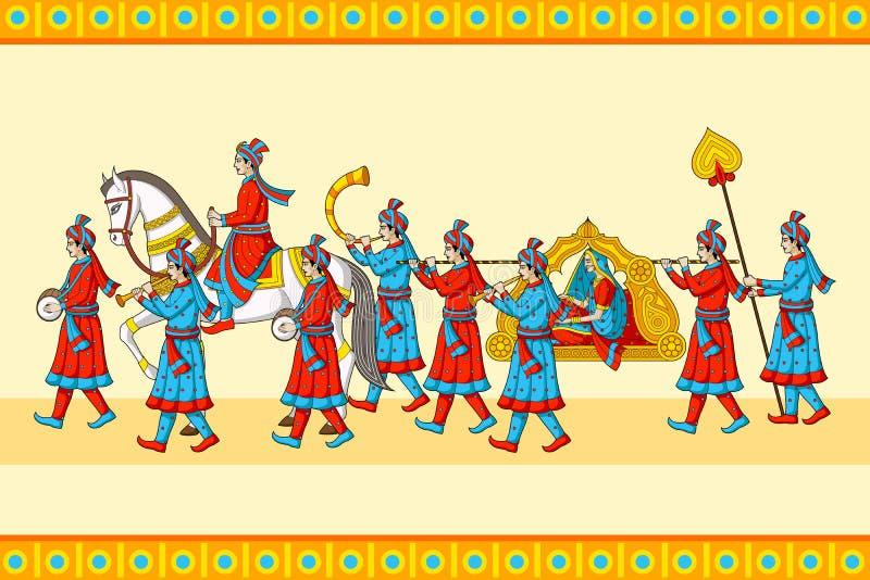 Индийская церемония baraat свадьбы иллюстрация вектора