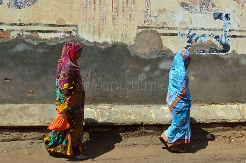 Индийские дамы и покрашенные стены, Mandawa, Rajastha стоковое фото rf