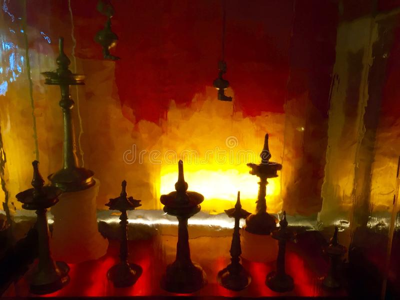 Индийские латунные масляные лампы стоковое изображение rf