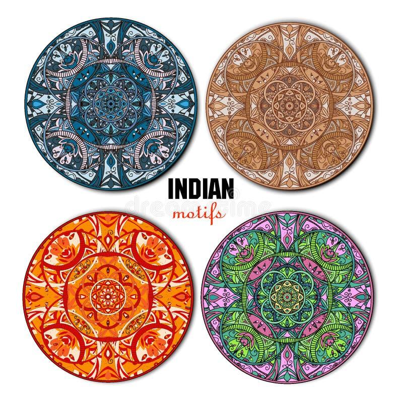 Индийские мотивы установленные в круг вектор стоковые изображения rf