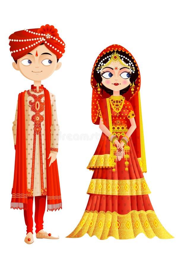 Индийские пары свадьбы иллюстрация штока