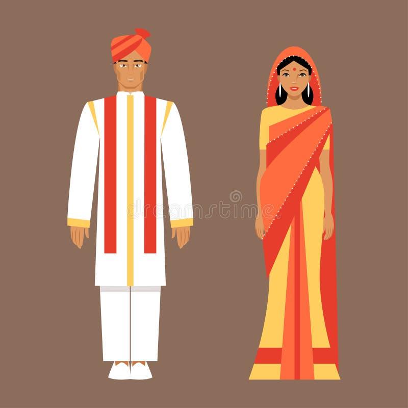 Индийские человек и женщина в традиционных одеждах иллюстрация штока