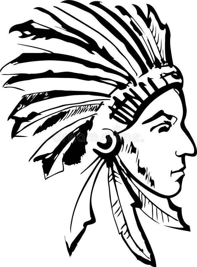 Индийский вождь (черно-белый) иллюстрация штока