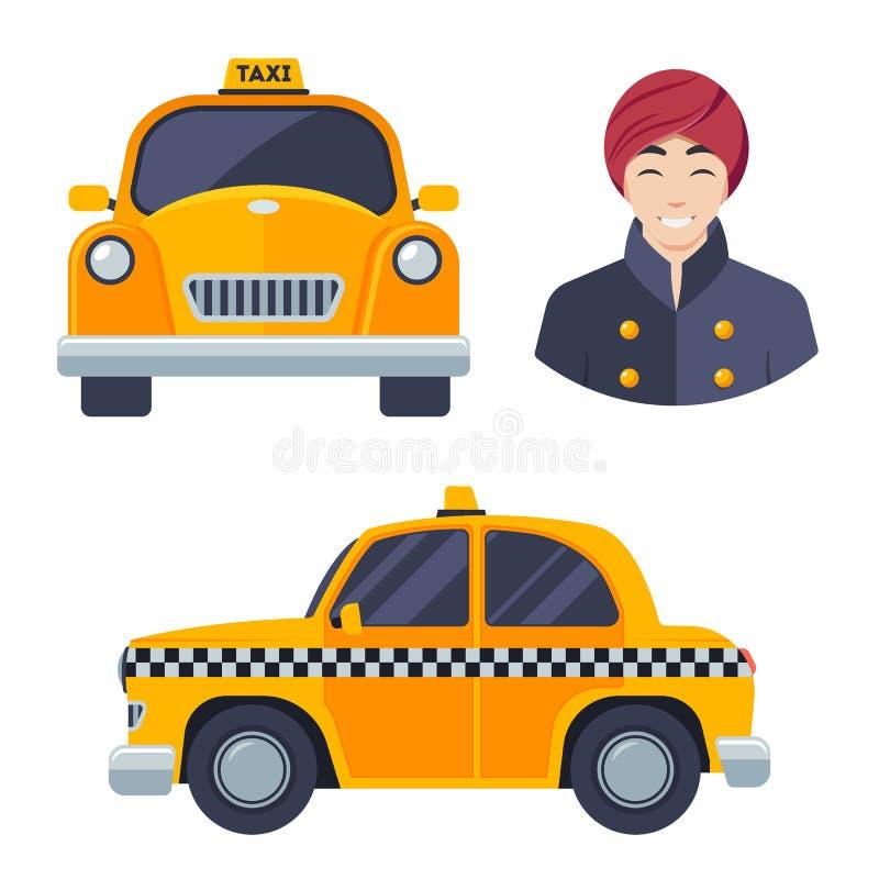 Индийский индусский комплект значка водителя автомобиля такси иллюстрация штока