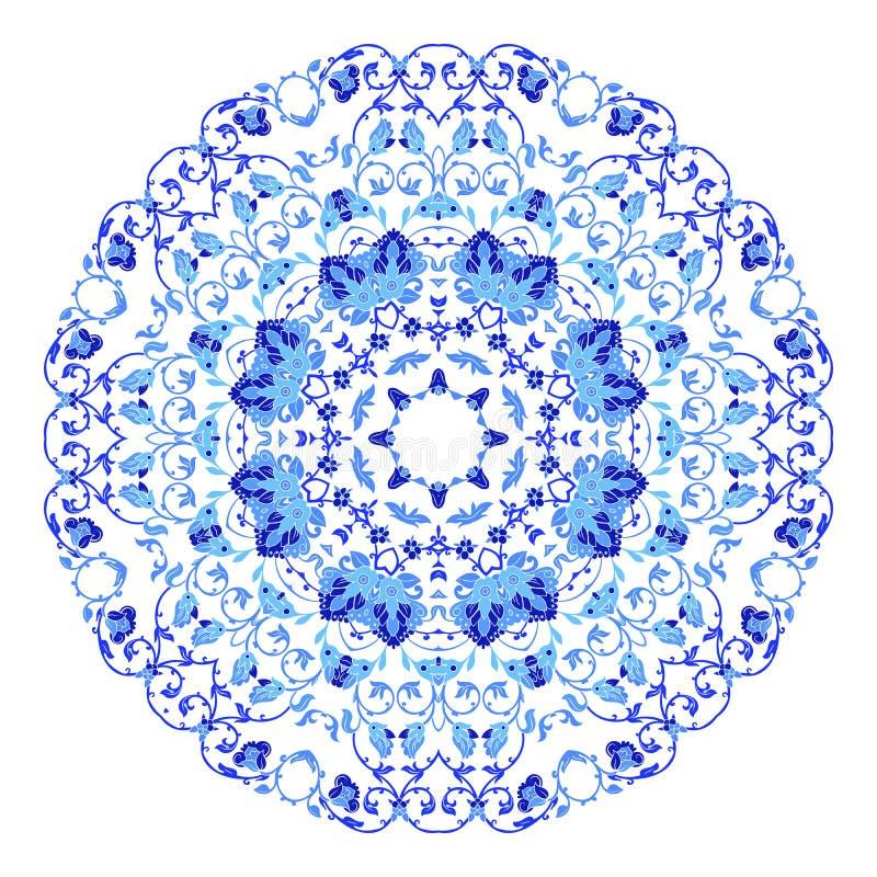 Индийский круглый орнамент, kaleidoscopic цветочный узор, мандала Дизайн сделанный в русских стиле и цветах gzhel иллюстрация вектора