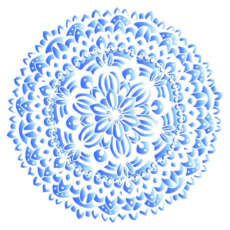 Индийский круглый орнамент, kaleidoscopic цветочный узор, предпосылка мандалы круглая Стиль и цвета Gzhel русского Дизайн печати  бесплатная иллюстрация