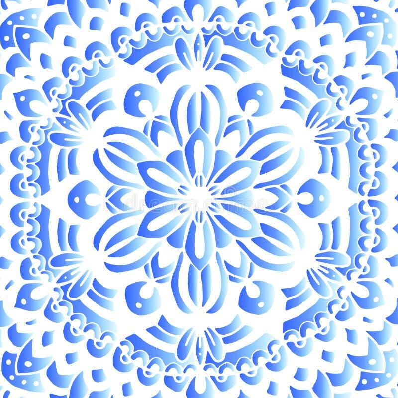 Индийский круглый орнамент, kaleidoscopic цветочный узор, предпосылка мандалы круглая иллюстрация штока