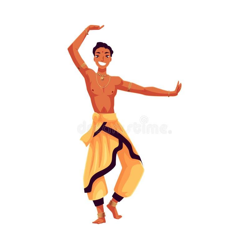 Индийский мужской танцор в традиционном гареме задыхается, совершитель Bollywood иллюстрация штока