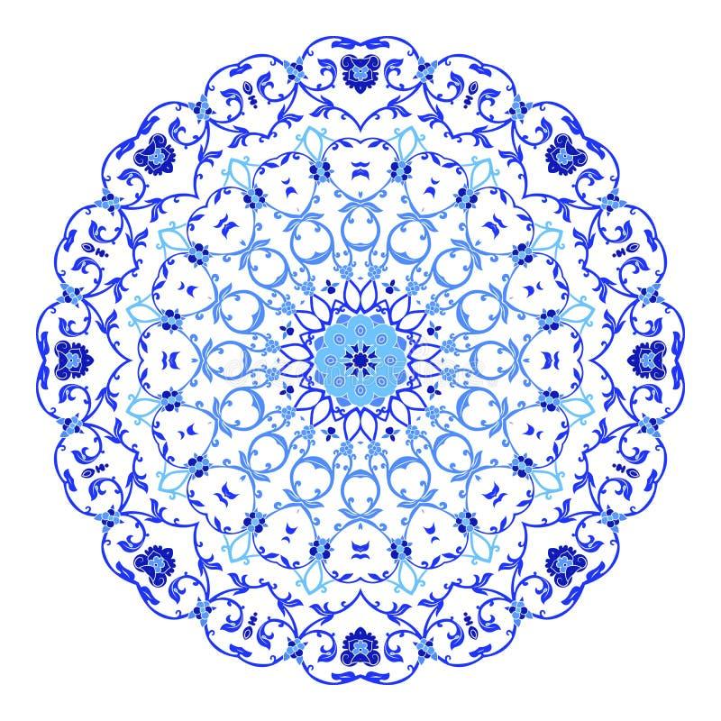 Индийский орнамент, kaleidoscopic цветочный узор, мандала Дизайн сделанный в русских стиле и цветах gzhel иллюстрация вектора
