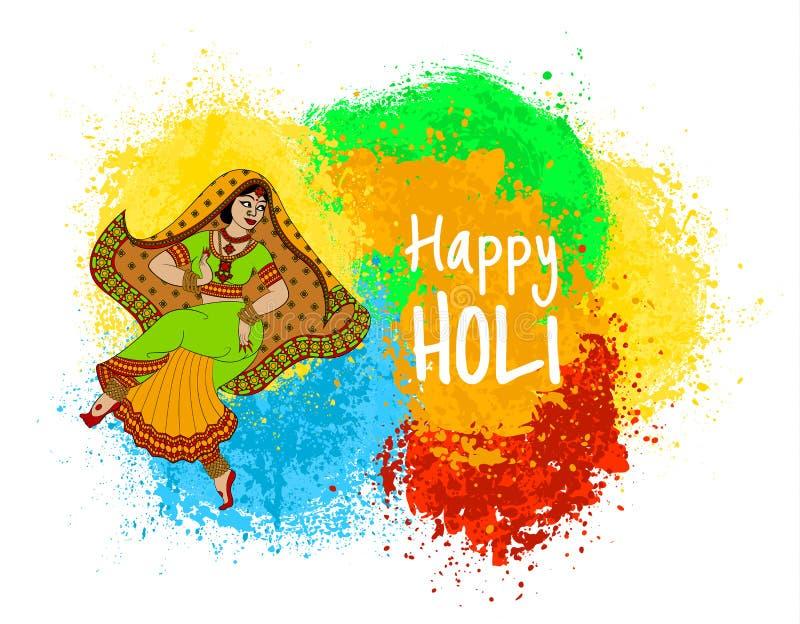 Индийский праздник Holi иллюстрация вектора