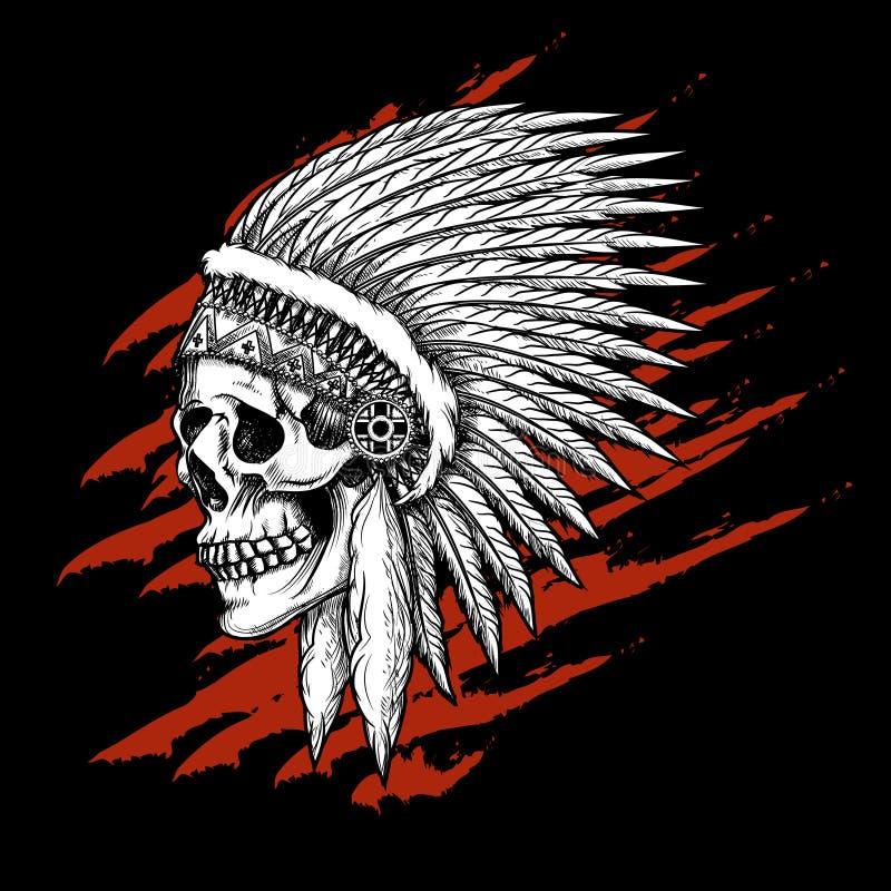 Индийский племенной череп с эмблемой пер иллюстрация вектора