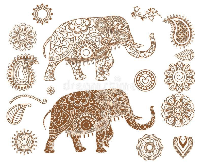 Индийский слон с картинами mehendi иллюстрация штока