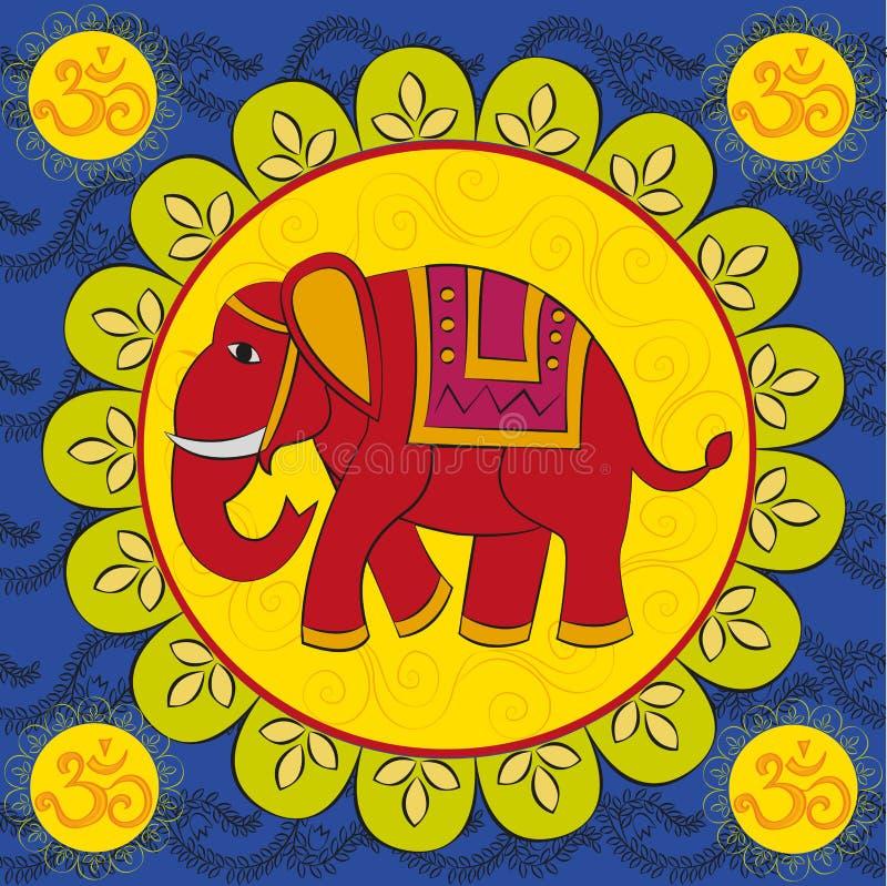 Индийский слон с мандалой иллюстрация вектора